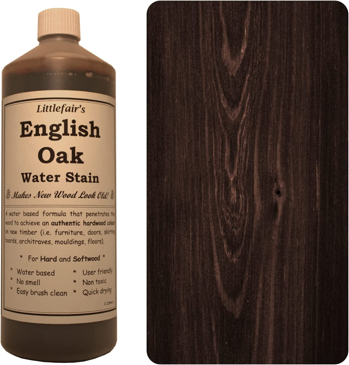 Tinte para madera a base de agua de Littlefair's, respetuoso con el medio ambiente, roble inglés, 500 ml
