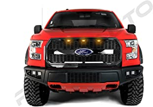 Razer Auto Gloss Black Hex Mesh Grille Shell w/Emblem Housing+3x Amber LED light, Complete Factory Replacement Grille Shell for 2015-2017 Ford F150