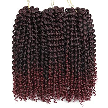 3pcs/Lot Crochet Jerry Curl Weave Synthetic Hair Extensions Ombre Freetress Kinky Curly Styles Kanekalon Hair Heat Resistant (10 inch 1 pack, T1B/BUG)