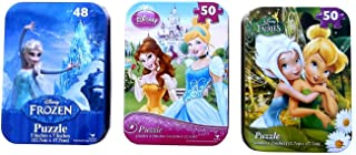 Disney Princess Fairies Frozen Travel Puzzle in Collectible Tin - Set of 3