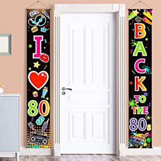 80's Party Scene Setters Wall Decorating Kit 80s Porch Sign Party Door Sign for 1980s Theme Party Rock Star Birthday Decoration (80s)