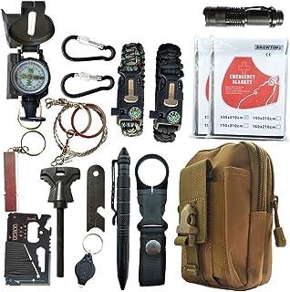 Kits de supervivencia, kit de supervivencia táctico SOS de emergencia al aire libre 16 en 1 para desierto / viaje / autos / senderismo / equipo de campamento, kit de primeros auxilios de emergencia de