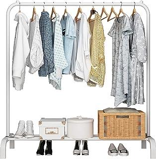 UDEAR Porte-vêtements Autoportant Cintre Multifonctionnel Pratique Unipolaire Chambre Vêtements Rack,Blanc