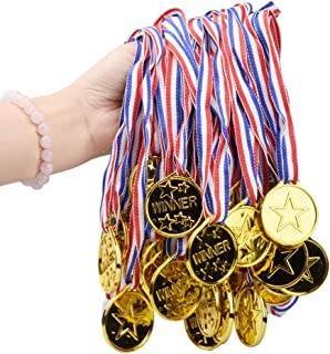 Onepine Kids Medals Gold Winner Medals for Children, Plastic Medals Perfect for Kids Party Games