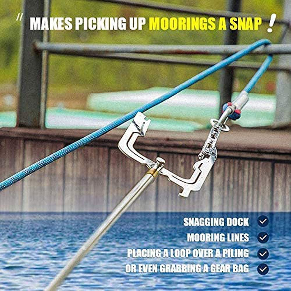 Telescopic Boat Hook and Rope,Easy Long-Distance Threader for Boat,Boat Hooks for Docking Hook and Moor Multi-Purpose Boat Puller Tie Rope Hook Tool