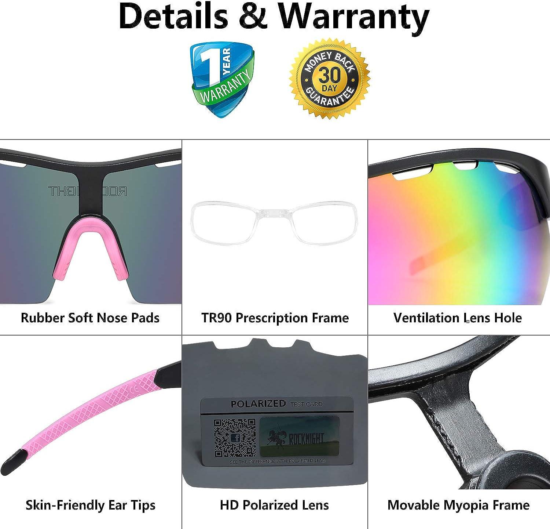 ROCKNIGHT HD Polarized Sports Sunglasses Cycling Driving Baseball Outdoor Ultralight TR90 Frame