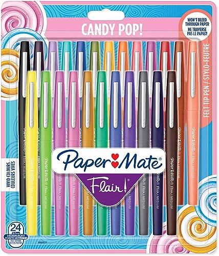 Paper Mate Flair Feutres de Coloriage Candy POP, pointe moyenne (0,7mm), assortiment de couleurs, lot de 24