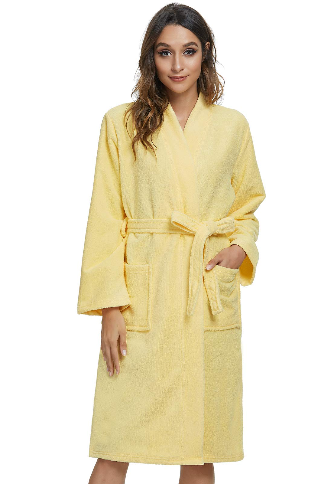 Image of Comfy Absorbent Yellow Bath Robe for Women - More Colors