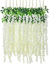 Luyue Wisteria Artificial Flowers 4.6ft Hanging Flowers Garland Vine for Wedding Party Home Decoration in Off White