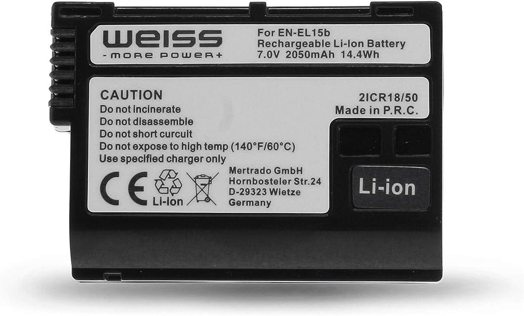 Weiss - More Power + Batería para Nikon EN-EL15b (2050 mAh Ion de Litio Compatible con Nikon Z6 y Nikon Z7 Compatible con Nikon EN-EL15a y Nikon EN-EL15)