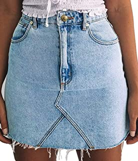just quella Women's High Waisted Jean Skirt Fringed Slim Fit Denim Mini Skirt