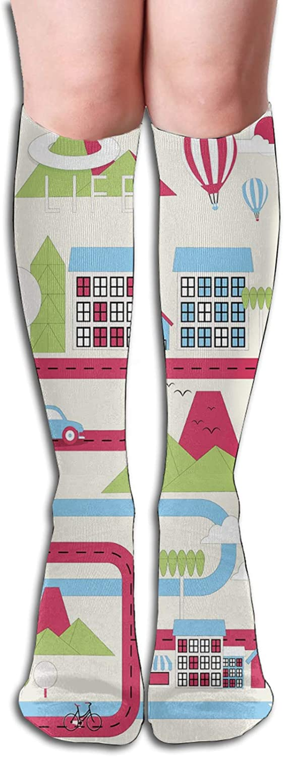 Compression High Socks-Cartoon Downtown Cars Ships And Bicycles Balloons Shops Apartments Mountains Life Best for Running,Athletic,Hiking,Travel,Flight