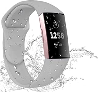 Hotodeal Sport Bands Compatible Charge 3 Bands Breathable Accessories Silicone Replacement Waterproof Bands for Women Men for Charge 3, Small Large Size
