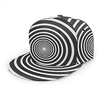 antkondnm Psychedelic Spiral Flat Bill Brim Cap, Cool Hip Hop Trucker Hat Men Women Adjustable Baseball Caps
