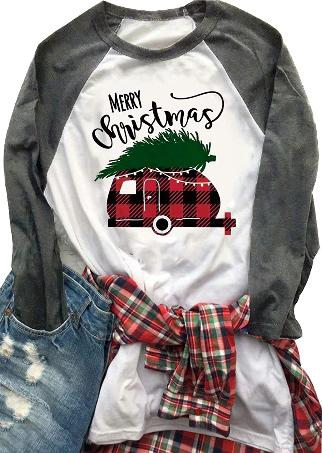 MAXIMGR Merry Christmas Raglan Tshirt Women's Christmas Tree Plaid Car 3 4 Sleeve Splicing Baseball Top Blouse