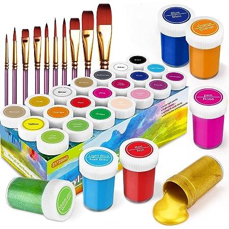 RATEL Peinture Acrylique, 31 Kit de Peinture Acrylique pour Artistes Comprenant 21 x 20 ML de Pigment Acrylique 10 pinceaux- Vibrant Couleurs pour Papier, Roche, Bois, céramique, Tissu