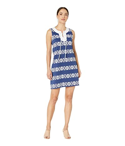 Tommy Bahama Bungalow Geo Stripe Shift Dress (Island Navy) Women