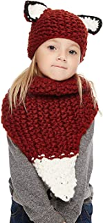 Baby Girls Boys Winter Hat Scarf Earflap Hood Scarves Caps (Red Squirrel 2-8 Years Old)