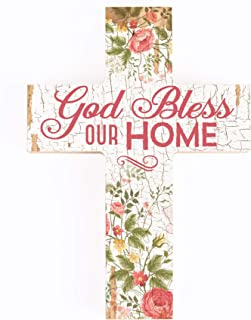 P. Graham Dunn Bless Our Home Floral Crackled Paint 12 x 9 Wood Wall Art Cross Plaque