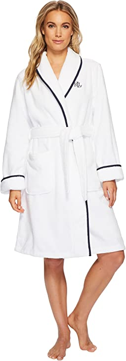 LAUREN Ralph Lauren - Cotton Terry Shawl Collar Robe with Embroidery