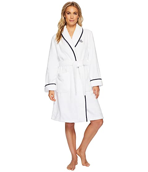 LAUREN Ralph Lauren Cotton Terry Shawl Collar Robe with Embroidery