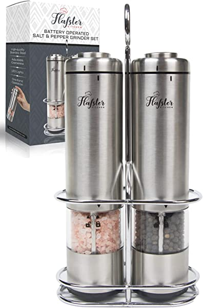 Battery Operated Salt And Pepper Grinder Set Electric Stainless Steel Salt Pepper Mills 2 By Flafster Kitchen Tall Power Shakers With Stand Ceramic Grinders With Lights And Adjustable Coarseness