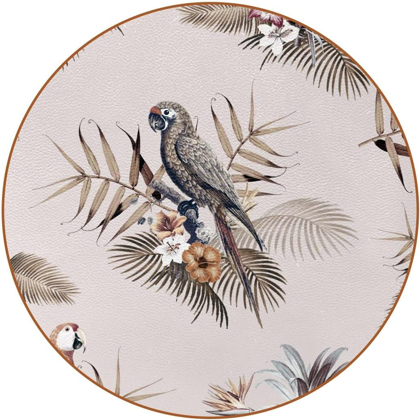 Ink Parrot Leaves-01Leather Superlatite Coasters Round for ...