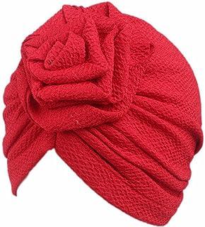 Qhome Kids Turban Headbands Rose Flower Girls Cotton Beanie Hat Hair Bands