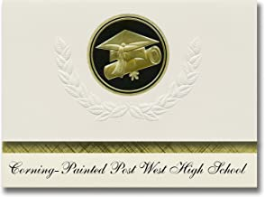 Signature Announcements Corning-Painted Post West High School (Painted Post, NY) Graduation Announcements, Presidential Elite Pack 25 Cap & Diploma Seal Black & Gold