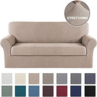 Turquoize Stretch Sofa Slipcover 2 Piece Sofa Cover with Separate Cushion Cover Couch Cover for 3 Cushion Couch Furniture Protector with Elastic Bottom High Spandex Washable (Large, Sand)