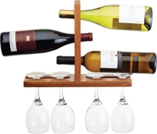 "BarCraft Wall-Mounted Wooden Wine Bottle Rack and Glass Holder, 35 x 27 x 10 cm (14"" x 10.5"" x 4"")"