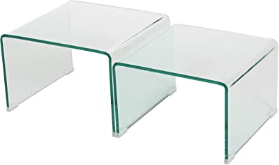 Christopher Knight Home Harlynn 12mm Tempered Glass Nesting Tables, Clear