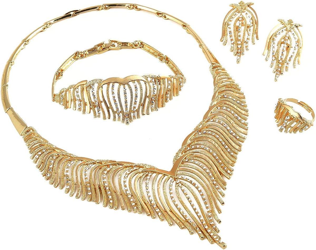 24K Gold Plated Jewelry Set White Stone Angel Wing Animal Feather Choker Jewelry Set Habesha Eritrea
