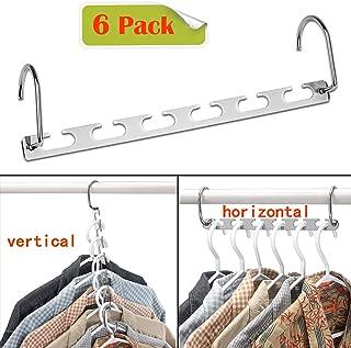CBTONE 6 Pack Closet Space Saving Hangers, Multi-Purpose Metal Magic Hangers Cascading Hanger Updated Hook Design Metal Hangers for Organizing Wardrobe Clothing Hanger