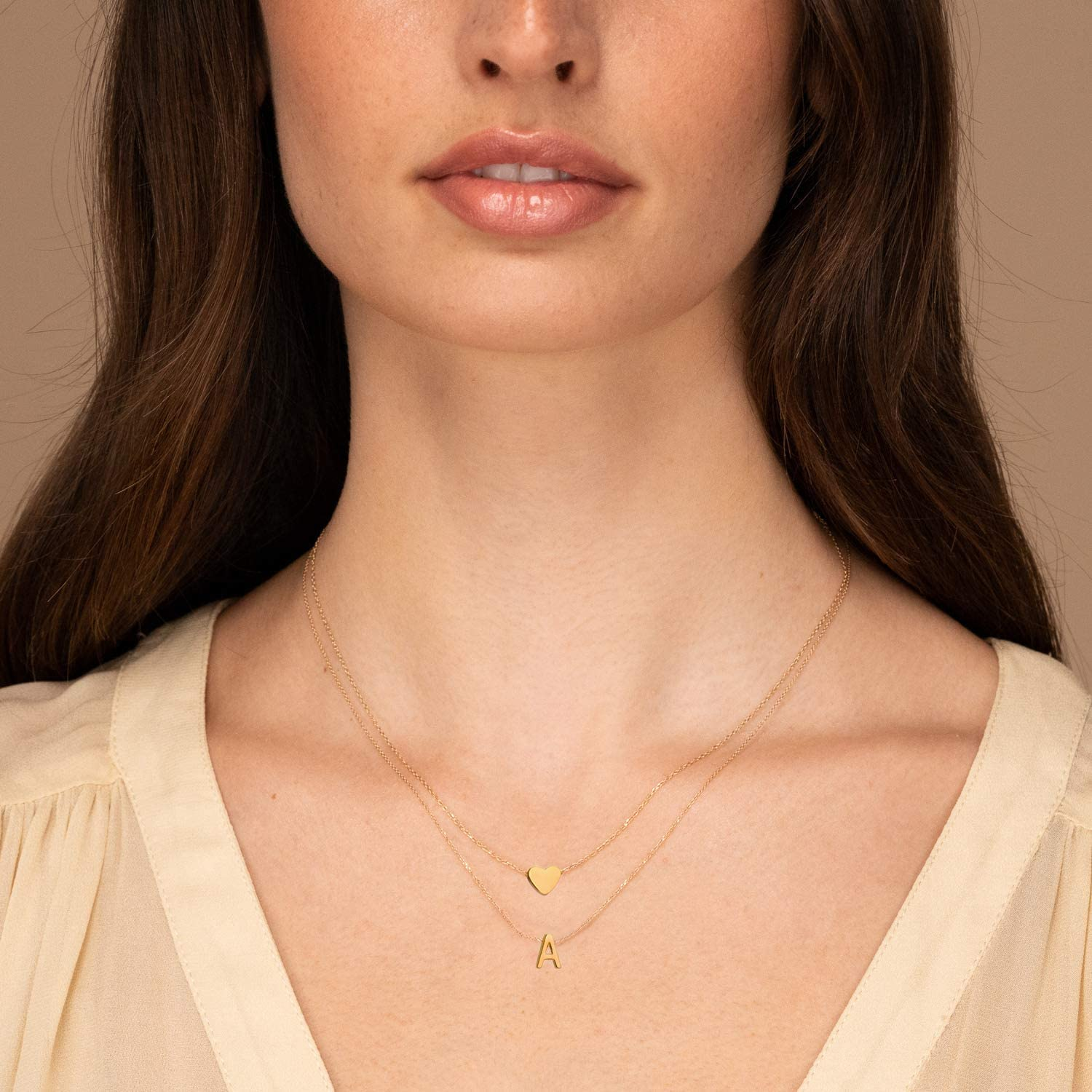 MOMOL 18K Gold Plated Stainless Steel Layered Heart Initial Necklace Personalized Tiny Letter Choker Necklace Monogram Name Necklace for Women Girls
