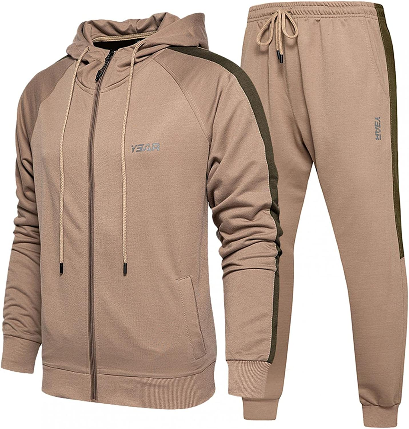 JSPOYOU Mens Athletic Jogging Tracksuits Long Sleeve Zip Up Hooded Sweatshirt and Sweatpant 2 Piece Outfit Casual Sportswear