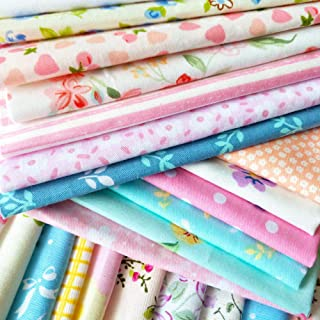 flic-flac 50pcs 10 x 10 inches (25cmx25cm) Cotton Fabric Squares Quilting Sewing Floral Precut Fabric Square Sheets for Craft Patchwork (50pcs 25cm25cm)
