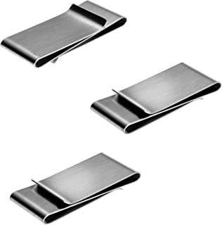 Money Clips 3 Pack by JGFinds, Stainless Steel Blanks for Engraving or Personalize, Double Clip