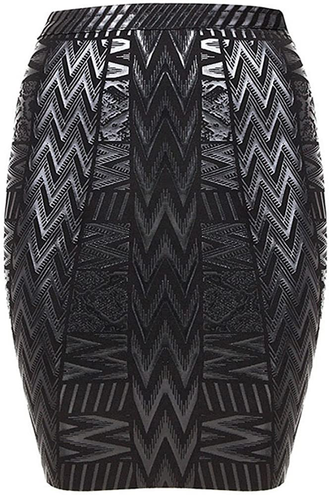 HLBandage Leather Metallic High Waist Bandage Skirt