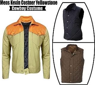 Mens Yellowstone John Cotton Biker Dutton Kevin Bomber Costner Jacket