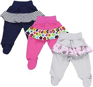 TupTam, Pantalón con Pies de Bebé para Niña, Pack de 3