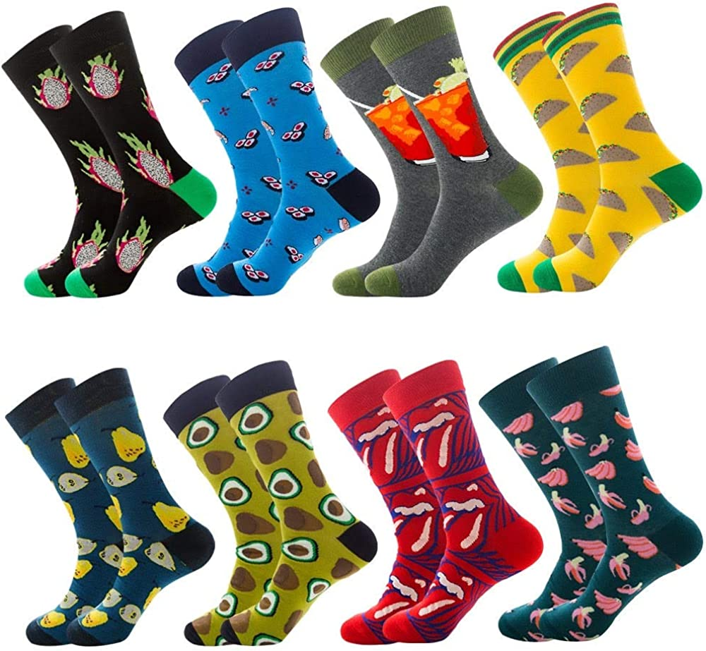 Funky Happy Fun Party Colorful Crazy Different Young Casual Cotton Patterned Novelty Cool Crew Socks Packs