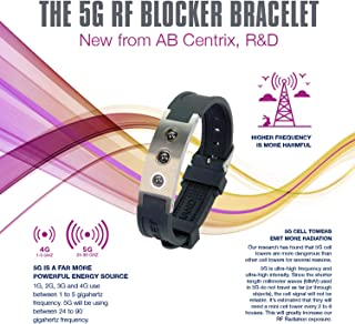 5G RF EMF Blocker Bracelet soft eco-friendly silicone material stainless steel hardware 4 in 1 Embedded Energy Elements: Far Infrared Ray, Negative ion, Neodymium magnet, Tourmaline, Germanium Spheres