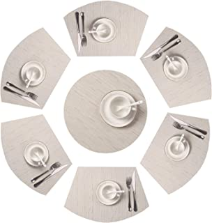 SHACOS Round Table Placemats Set of 7 Wedge Shaped Place Mat with Centerpiece Round Mat Heat Resistant Table Mats Washable (7, Beige)
