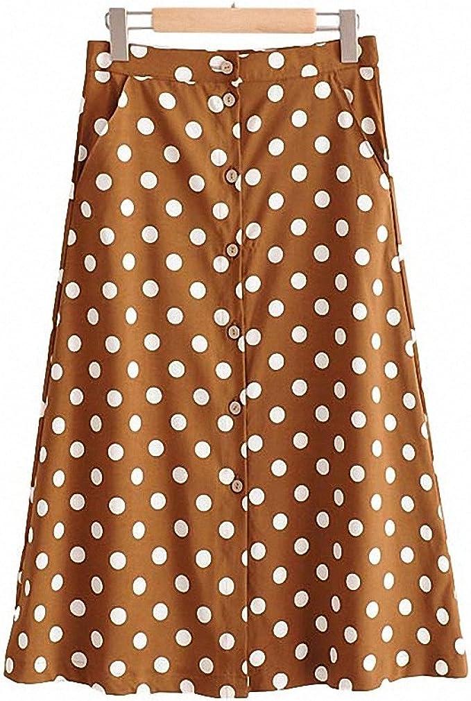 Womens Vintage Dot Print Midi Skirt Button Design Pockets A Line Ladies Casual Summer Mid Calf Skirts Falda Mujer