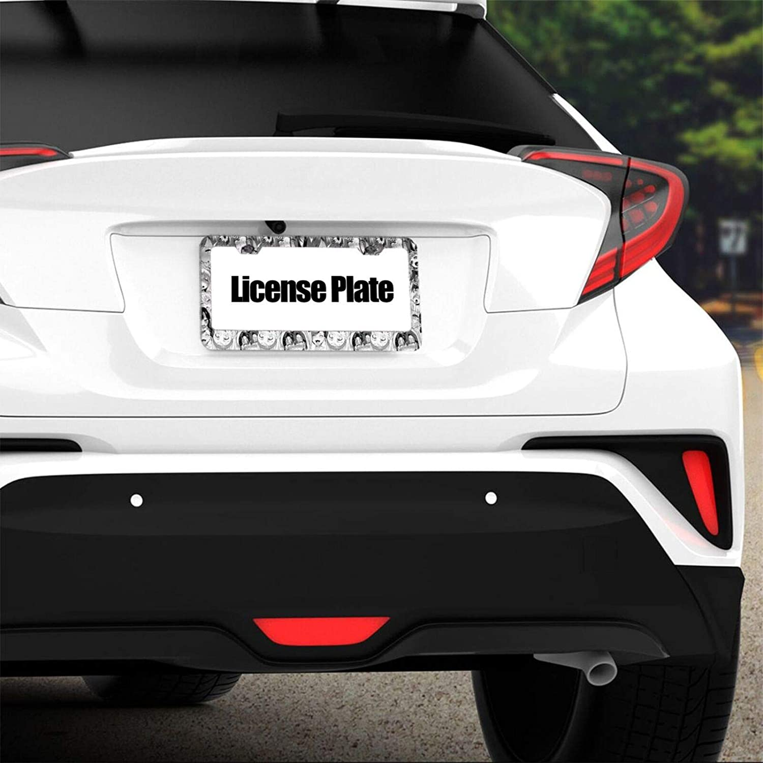 GMWD Ahegao Waifu License Plate Frame 2 Pcs Stainless Steel Car Licence Plate Covers