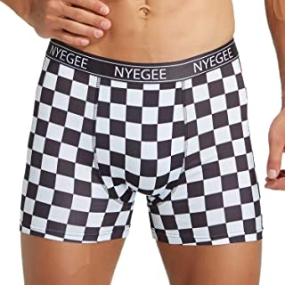 NYEGEE Mens Performance Boxer Briefs 2XL XL L M S Tagless Dry Fit Moisture Wicking Boxer Briefs 6inch with 3D Print