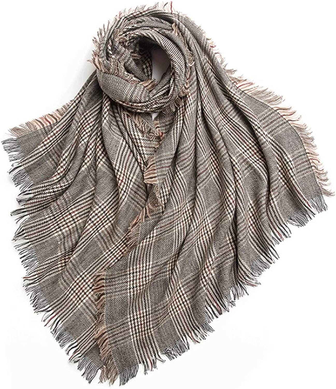 WXL Shawl Soft and Warm Warm Houndstooth Shawl in Autumn and Winter V (color   Coffee Yellow Strip)