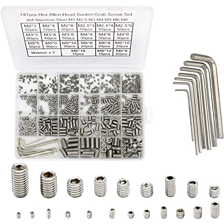 10 Metric Sizes M3//4//5//6//8 Internal Hex Drive Cup-Point Screws Alloy Steel Set Screw Assortment Total 240PCS