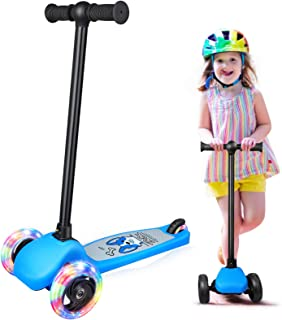 BELEEV Scooter for Kids Ages 3-5, 3 Wheel Kick Scooter for Toddlers Girls & Boys, Lean to Steer with PU LED Light Up Wheel...